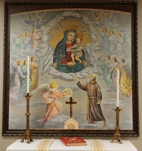 Exact replica of the mural behind the altar of the Santa Maria delle Grazie Shrine in San Giovanni Rotondo, Italy...now hanging in the chapel of the Casa San Pio Medical Clinic chapel in Stanton, Kentucky.