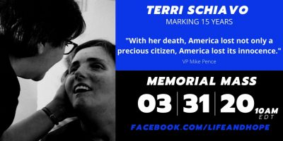 March 31st – Join Our Live Stream Memorial Mass – Terri Schiavo 15 Year Anniversary